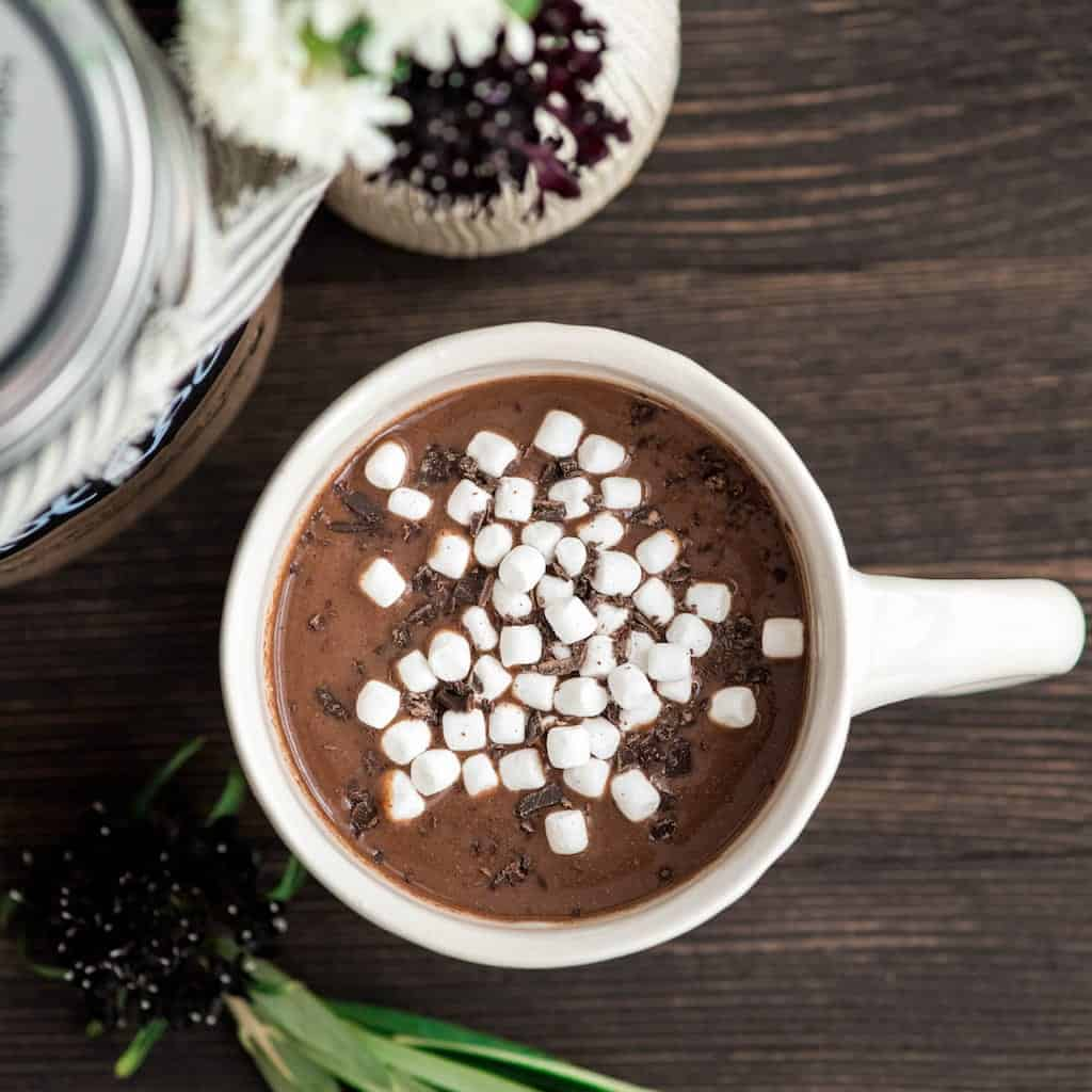 Overhead view of a mug of dairy-free homemade hot chocolate mix made into hot cocoa with mini marshmallows and chocolate shavings