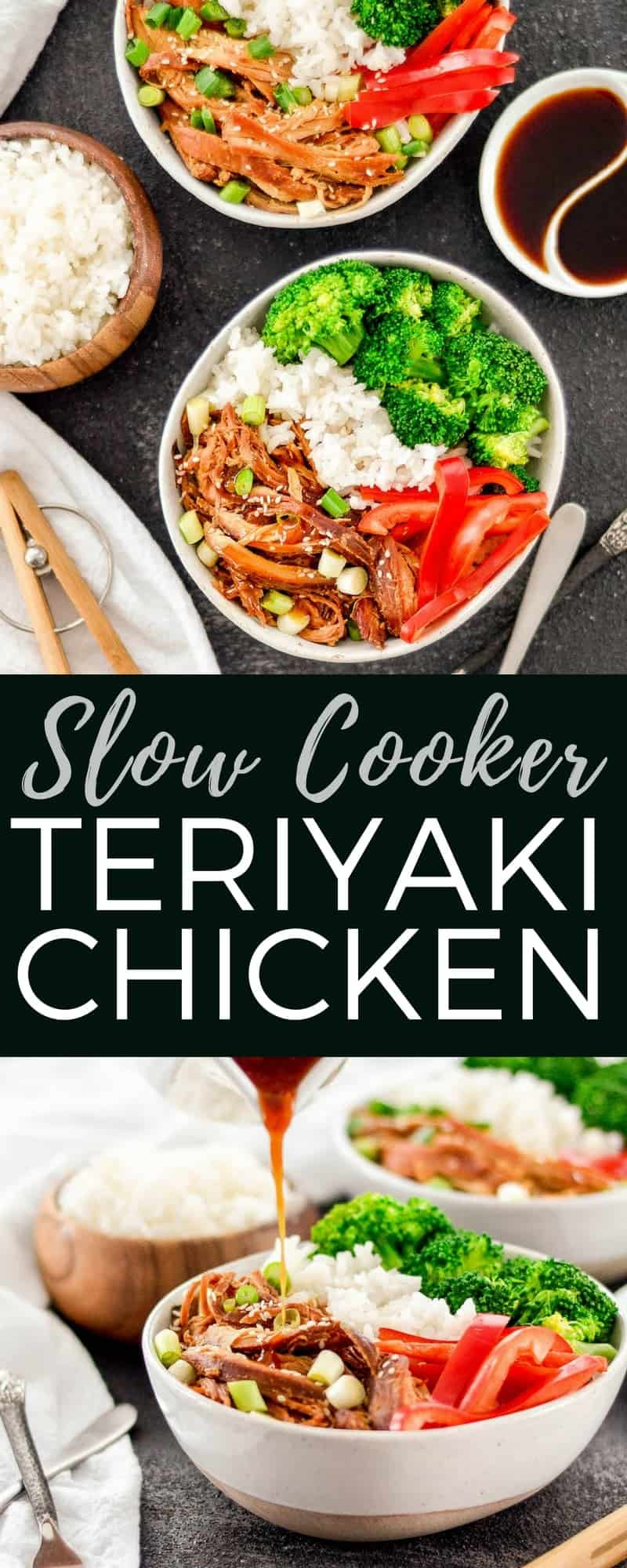 This Slow Cooker Teriyaki Chicken is an easy recipe perfect for busy weeknights! Serve with stir-fried veggies and you have a delicious and healthy dinner! #glutenfree #dairyfree #slowcooker #teriyakichicken #healthyrecipe #easyrecipe #dinner #recipe