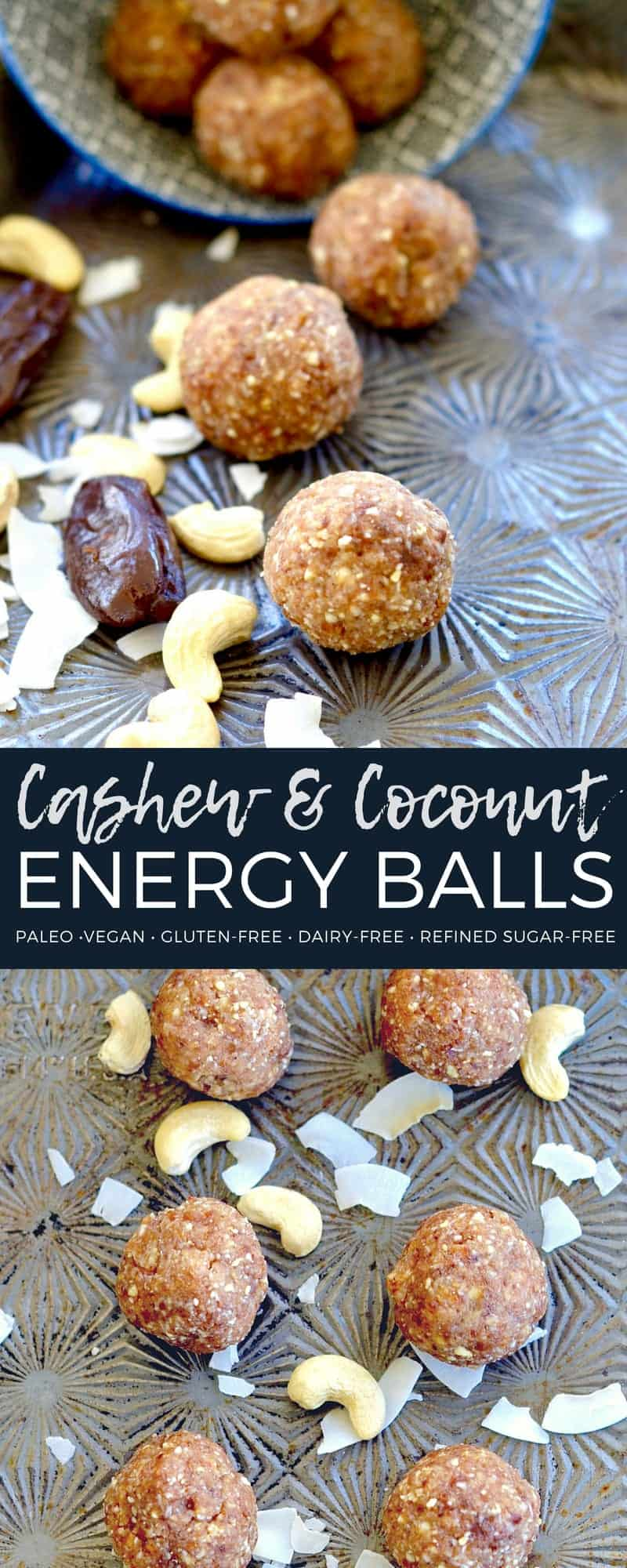 These Cashew & Coconut Energy Balls are made with only SIX ingredients and come together in 5 minutes! They the perfect healthy snack recipe to bring with you to the park or pool this summer! #paleo #vegan #glutenfree #grainfree #healthysnack #eneryballs #recipe
