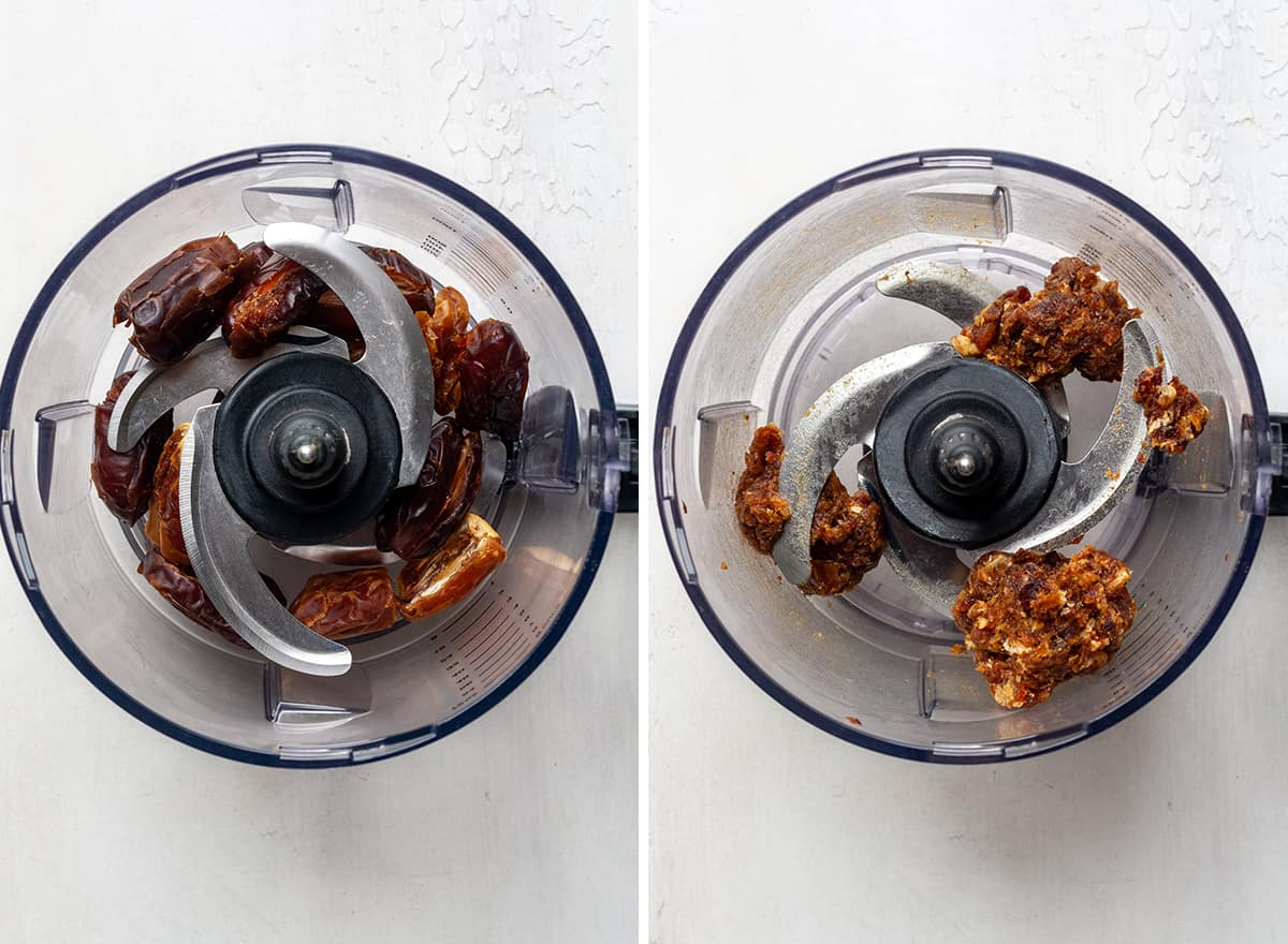 """two overhead photos showing how to make Coconut Date Balls in a food processor fitted with an """"S"""" blade"""