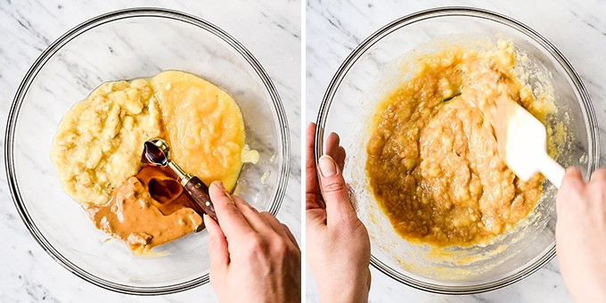 two overhead photos of mixing the wet ingredients together in this breakfast bars recipe
