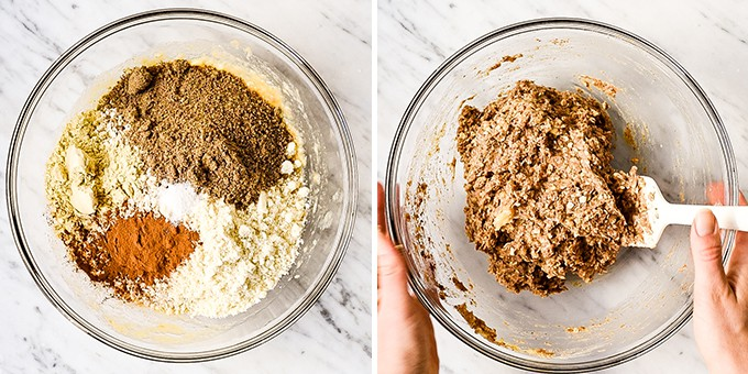 two photos showing the overhead view of adding the dry ingredients to the wet, and then mixing everything together in the making of these healthy breakfast bars