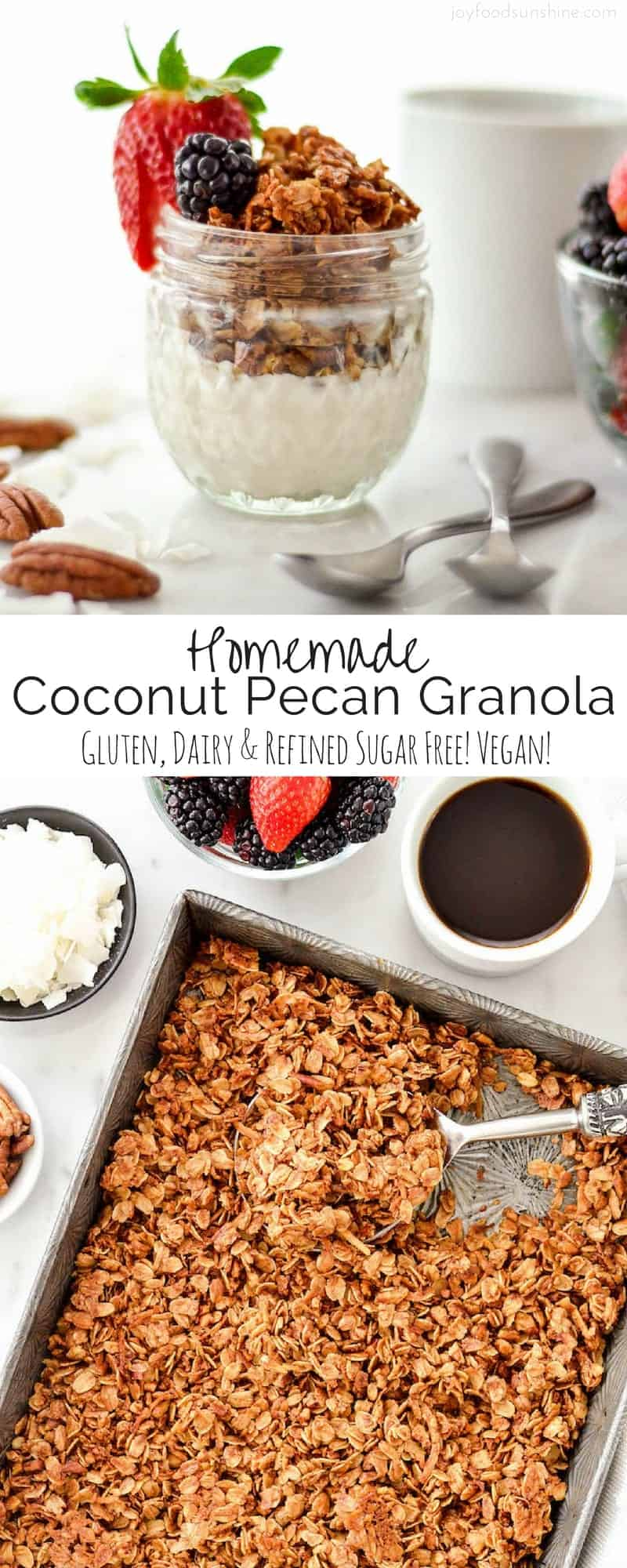 Healthy Homemade Coconut Pecan Granola! Oatmeal is the perfect breakfast recipe. Shredded coconut, pecans, coconut oil, and honey all come together to make the best granola ever! Gluten-free, dairy-free, refined sugar free and vegan!