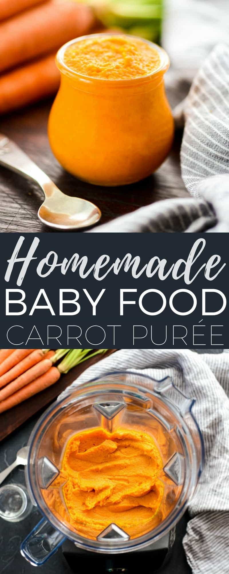Homemade Baby Food Carrots are so easy to make and only contain two ingredients...organic carrots and water! Plus they taste worlds better than store-bought varieties! #babyfood #homemade #carrots #vitamix #blender