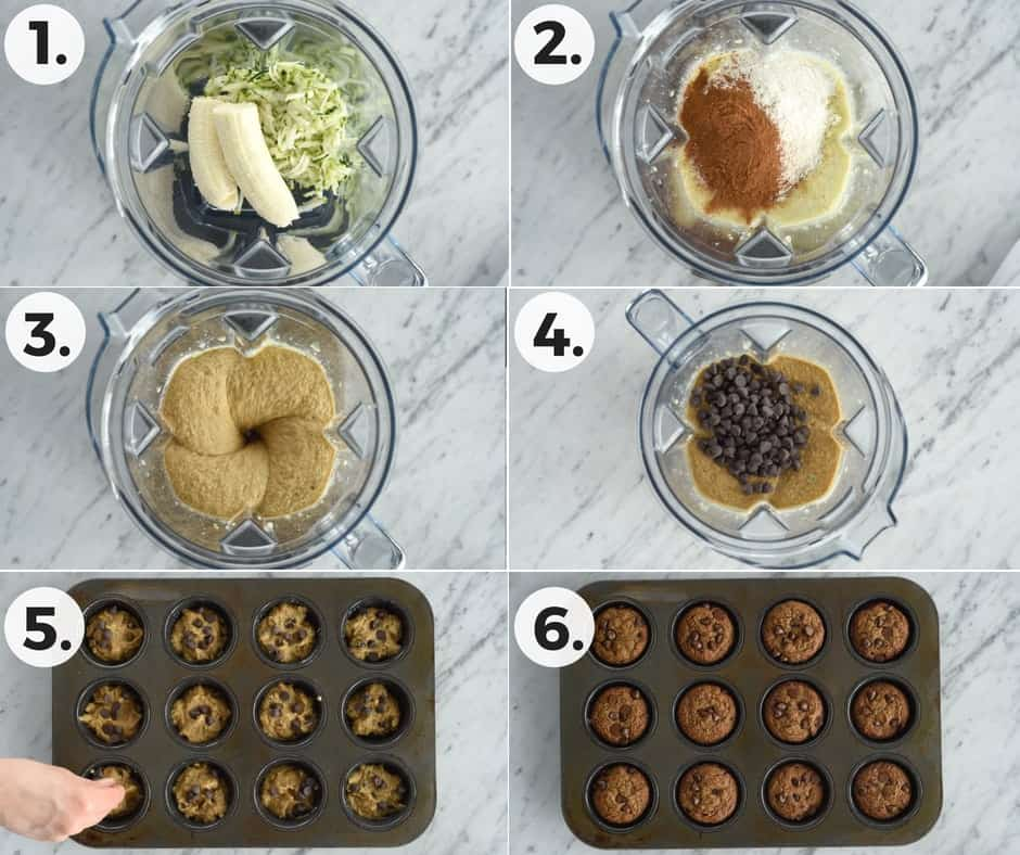 Collage of the process of making Paleo Zucchini Banana Muffins. Six overhead shots, four in the blender and two in the muffin tin, of the steps of making this Paleo Zucchini Banana Muffins recipe