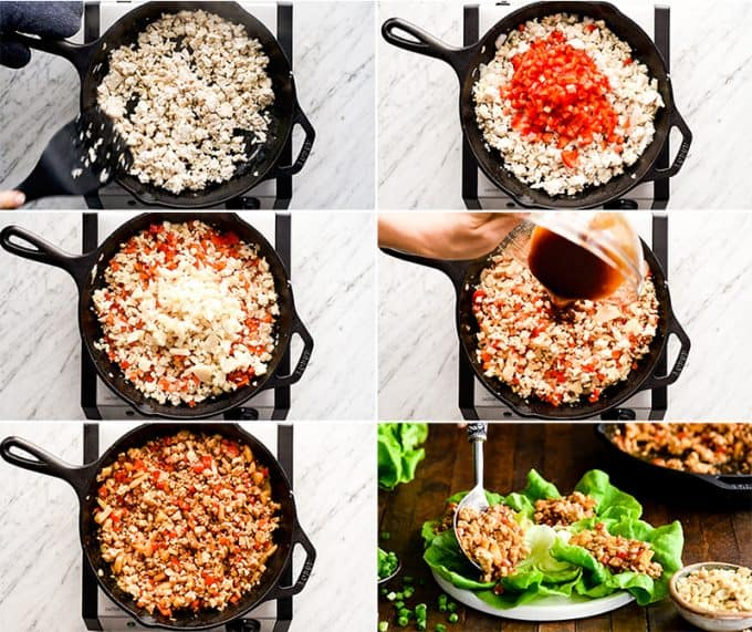 overhead view of six photos showing how to make this Asian Chicken Lettuce Wrap Recipe step-by-step