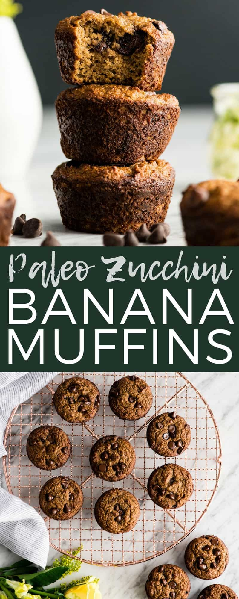 Paleo Zucchini Banana Muffins! The perfect healthy breakfast recipe that delivers a serving of fruits AND veggies! Paleo, gluten-free & dairy-free! #paleo #zucchini #banana #muffins #glutenfree #grainfree #dairyfree #vitamix