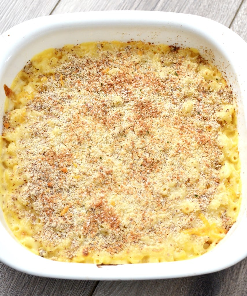 This Healthy Mac & Cheese recipe is gluten-free and loaded with protein! So much better than the beloved blue-box!