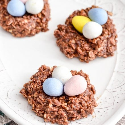 No Bake Chocolate Peanut Butter Cookie Nests!