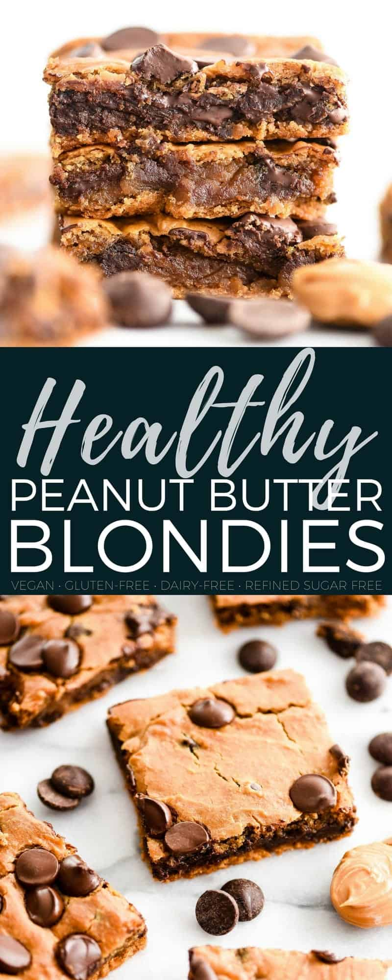 These Healthy Peanut Butter Blondies are gluten-free, dairy-free, refined-sugar free and vegan friendly! Made with chickpeas but you'd never know it! It's the perfect healthy dessert recipe that you can feel great about indulging in! #blondies #peanutbutter #healthy #recipe #baking #glutenfree #dairyfree #vegan #refinedsugarfree
