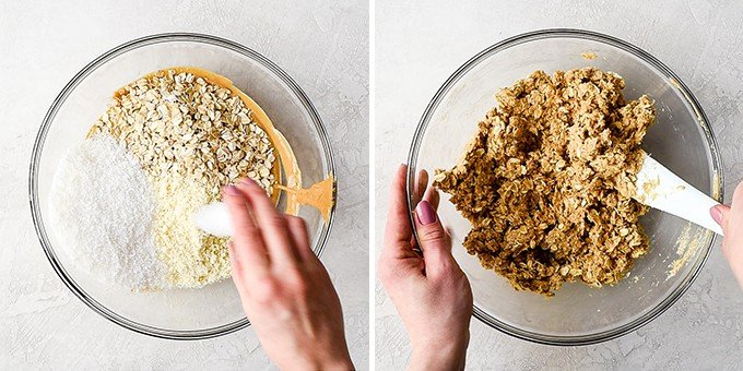 Two overhead photos of a glass mixing bowl on a white surface, the left shows a hand pouring salt into the bowl that contains the wet mixture, oats and coconut, the right shows hands stirring the ingredients with a white spatula to make these No-Bake Oatmeal Bars