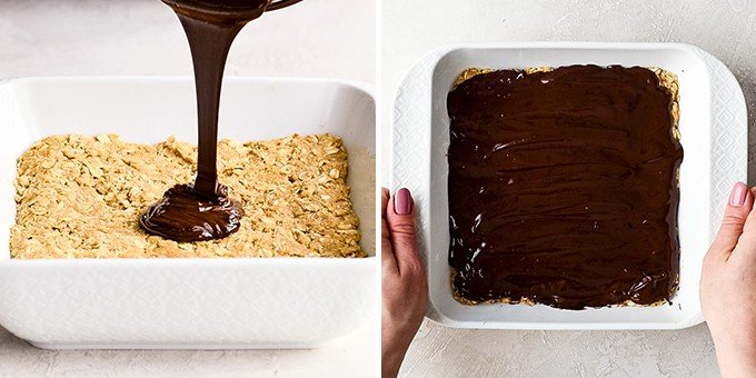 two photos, the right is a front view of melted chocolate being poured onto No-Bake Oatmeal Bars in a white square baking dish. The right photo shows the No-Bake Oatmeal Bars with the chocolate spread on top in a square white baking dish