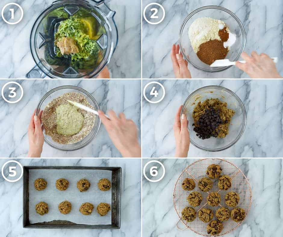 Overhead view of a collage of six step-by-step photos to show how to make Paleo Zucchini Cookies