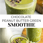 2 chocolate peanut butter smoothie with garnish on each photo.