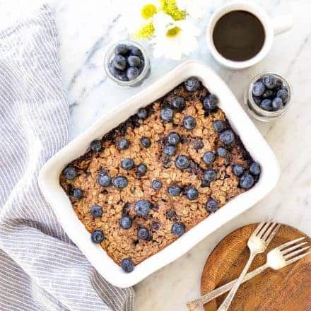 Blueberry Baked Oatmeal with Greek Yogurt (gluten-free)!