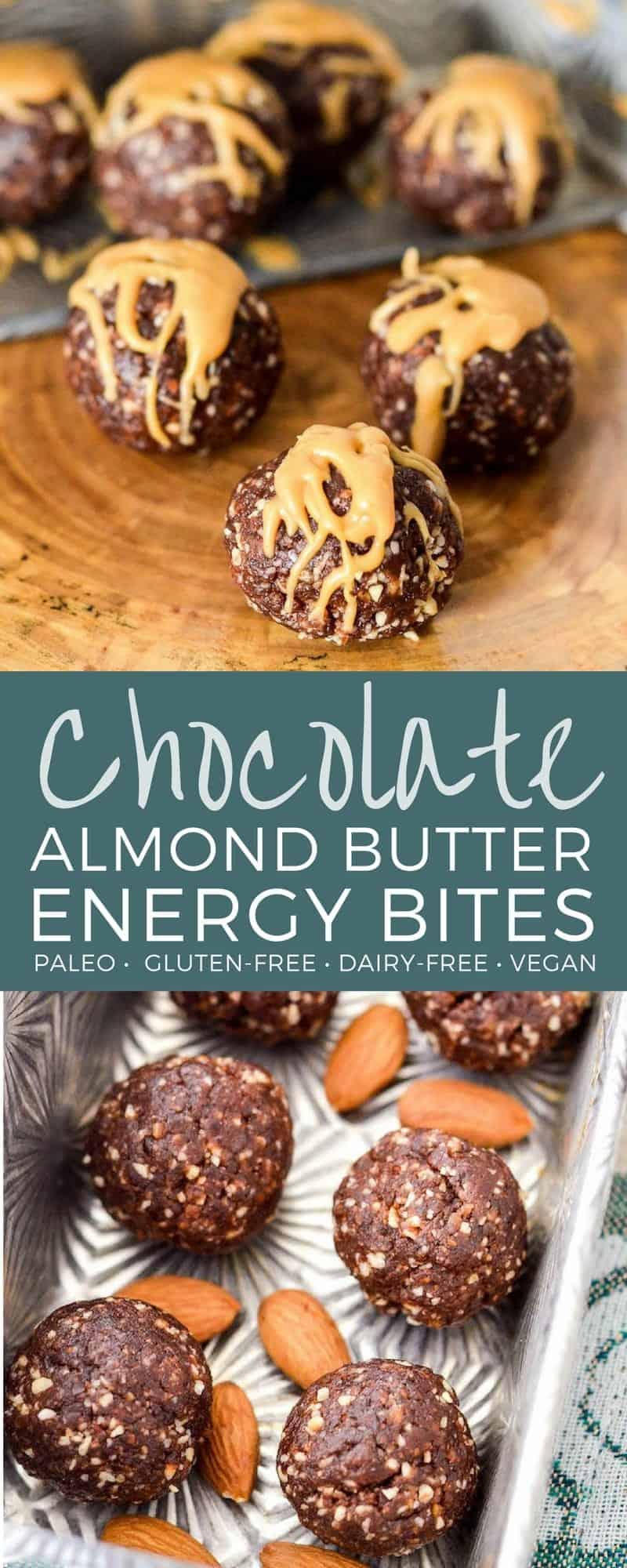 Chocolate Almond Butter Energy Balls are made with 7 ingredients and come together in 10 minutes! They are the perfect easy & healthy snack recipe! Paleo, gluten-free, dairy-free, date-sweetened & vegan! #paleo #vegan #glutenfree #dairyfree #recipe #snack #energyballs #energybites #chocolate #almondbutter