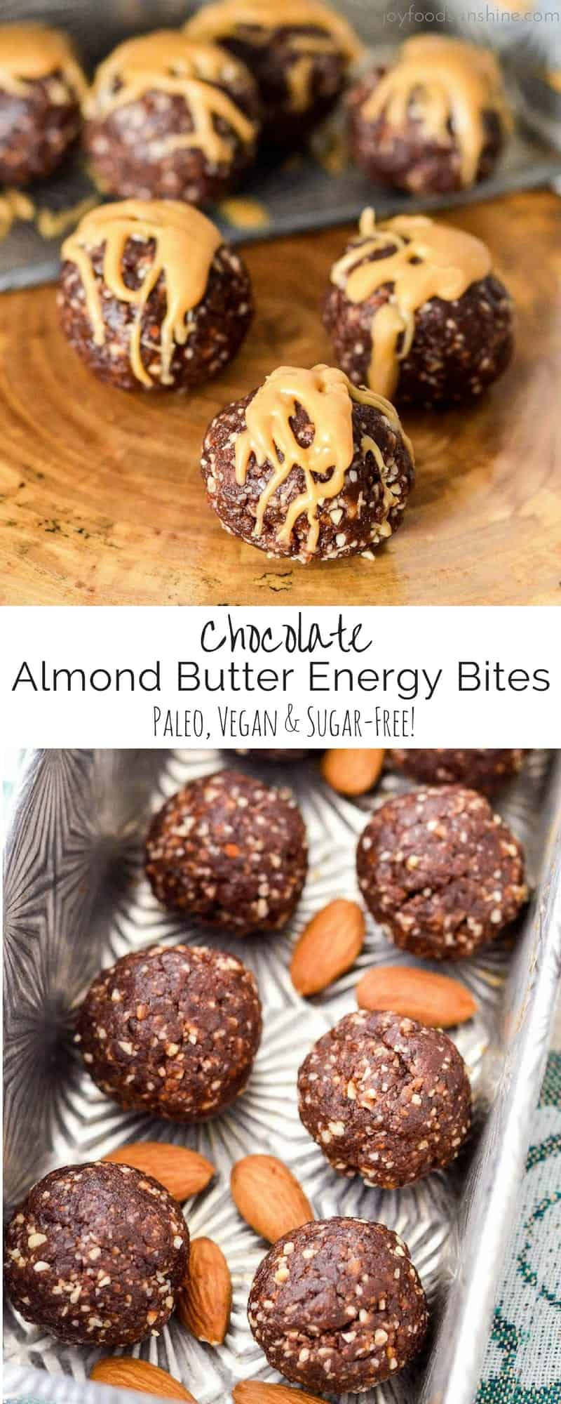 Chocolate Almond Butter Energy Bites! It only takes 7 ingredients and 10 minutes to make this easy & healthy snack recipe! Paleo, gluten-free, dairy-free, date-sweetened & vegan!