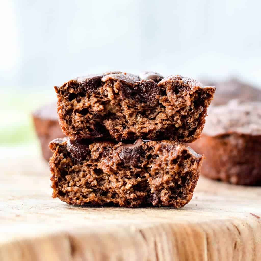 These Double Chocolate Zucchini Muffins are a healthy, easy make-ahed breakfast loaded with sneaky veggies! A kid-tested mom approved recipe that your whole family will love! #glutenfree #muffins #breakfast #zucchini #chocolate #blender #vitamix