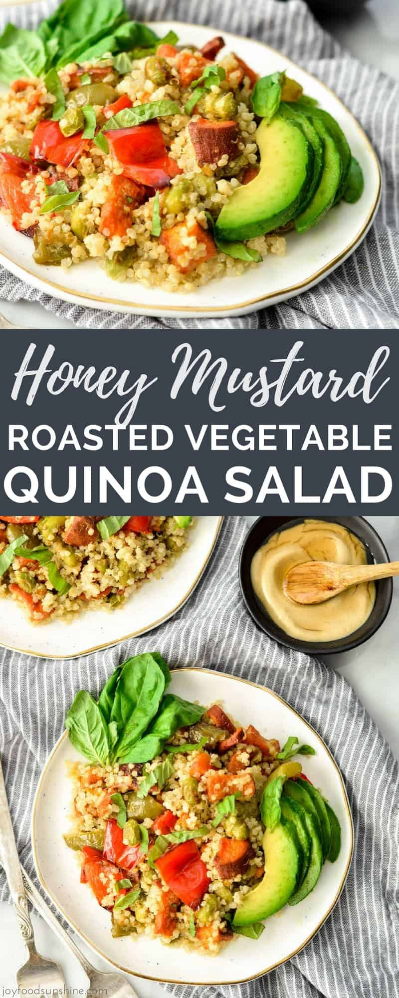 This Honey Mustard Roasted Vegetable Quinoa Salad recipe is a perfect meatless main dish or side dish! It's loaded with veggies & protein and bursting with flavor! It's a great meal prep recipe that you can make ahead of time and it's paleo, gluten-free dairy-free and vegan-friendly! #quinoa #salad #honeymustard #paleo #veganfriendly #vegan #sidedish #maindish #honeymustard #sweetpotatoes #roastedvegetables