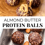 Almond Butter Protein Balls drizzled with sauce.
