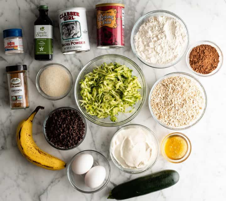 overhead view of the ingredients in this chocolate zucchini muffin recipe