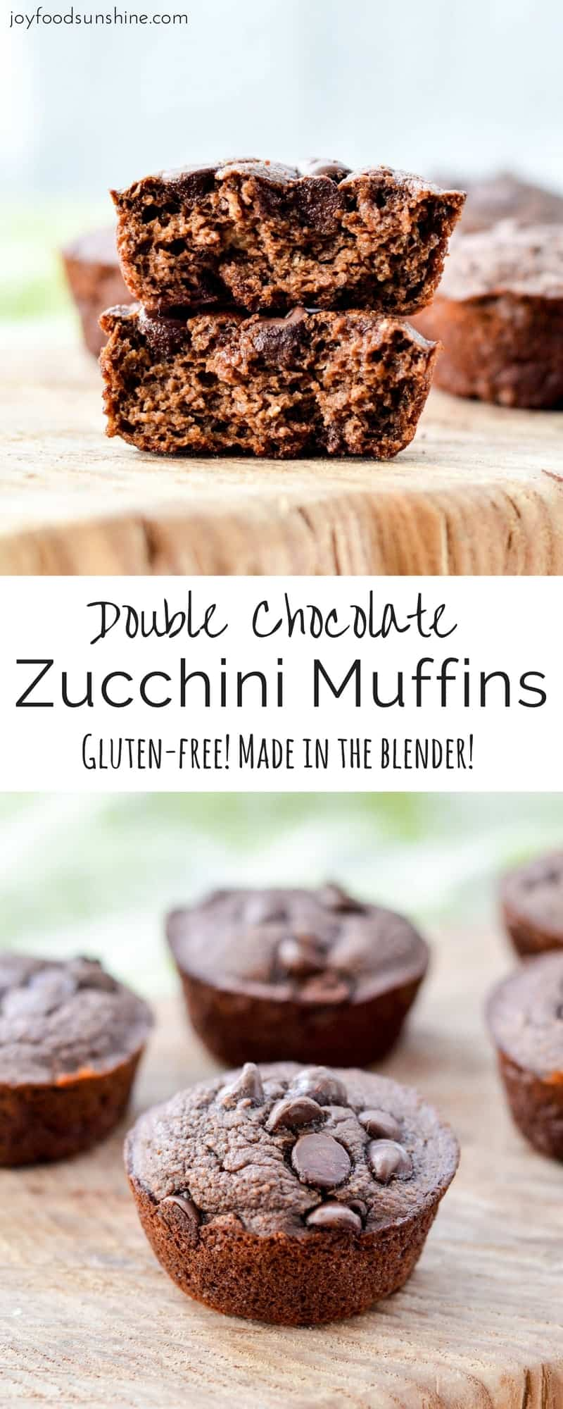 Double Chocolate Zucchini Muffins! Made in your blender these healthy muffins are gluten-free and loaded with sneaky veggies!