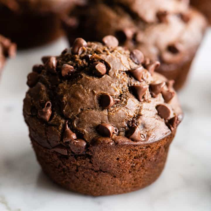 front view of a chocolate zucchini muffin