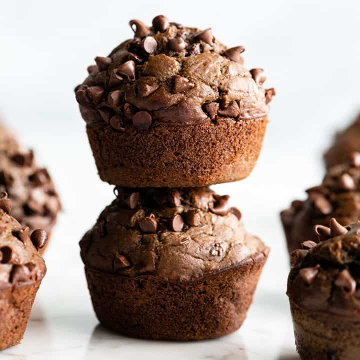 front view of a stack of two double chocolate zucchini muffins