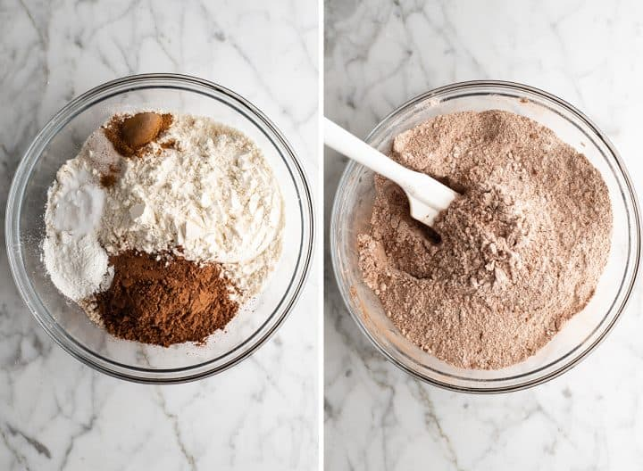 two overhead photos showing how to make healthy chocolate zucchini muffins - mixing the dry ingredients