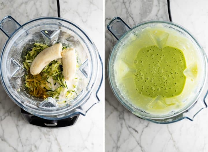 two overhead photos showing how to make healthy chocolate zucchini muffins  in a blender- blending the wet ingredients including zuchcini