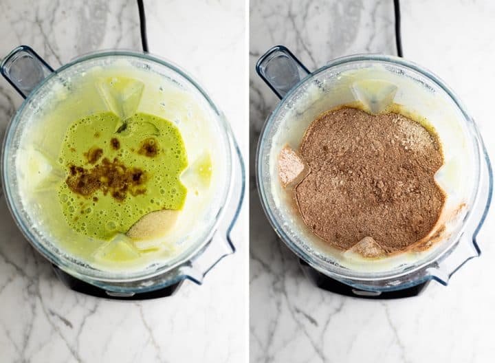two overhead photos showing how to make healthy chocolate zucchini muffins  in a blende - adding the dry ingredients