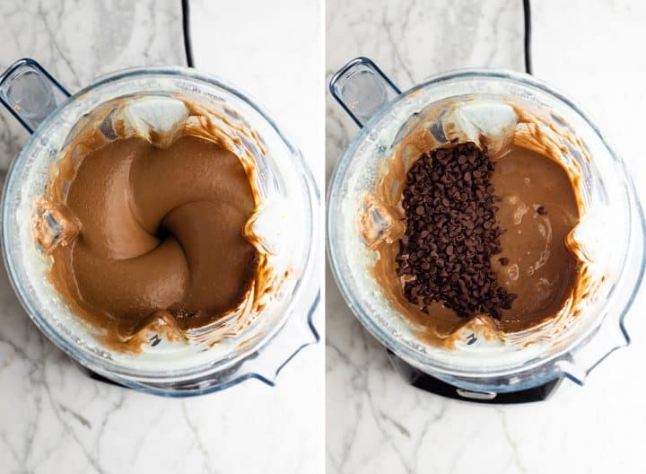two overhead photos showing how to make healthy chocolate zucchini muffins  in a blender- adding chocolate chips