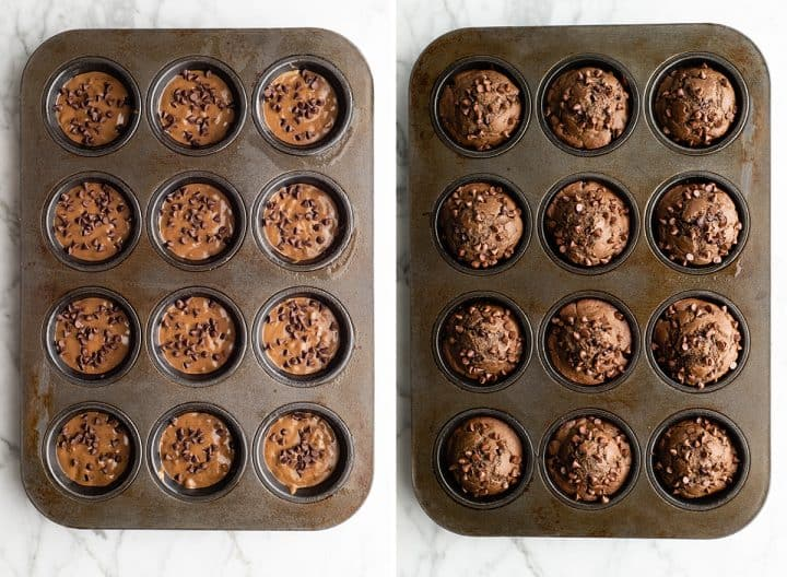 two overhead photos showing how to make healthy chocolate zucchini muffins - before and after baking in a muffin tin