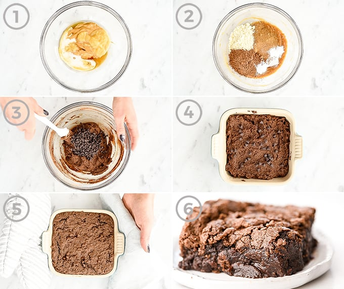 overhead view of six photos showing how to make fudgy paleo brownies