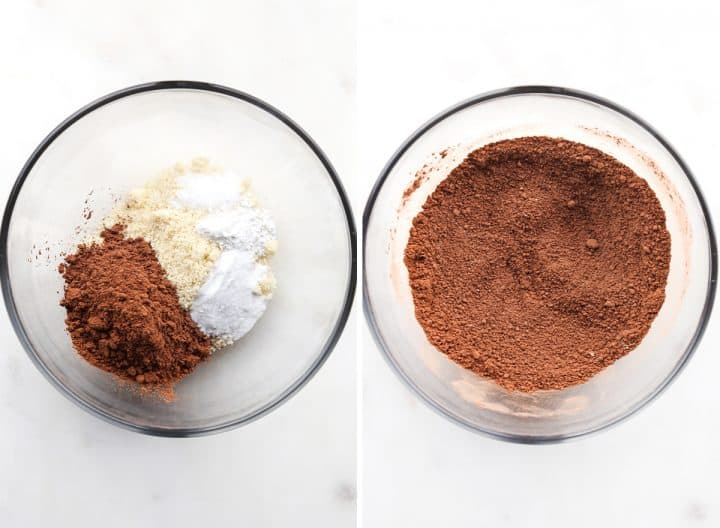 two photos showing how to make Fudgy Paleo Brownies - mixing dry ingredients