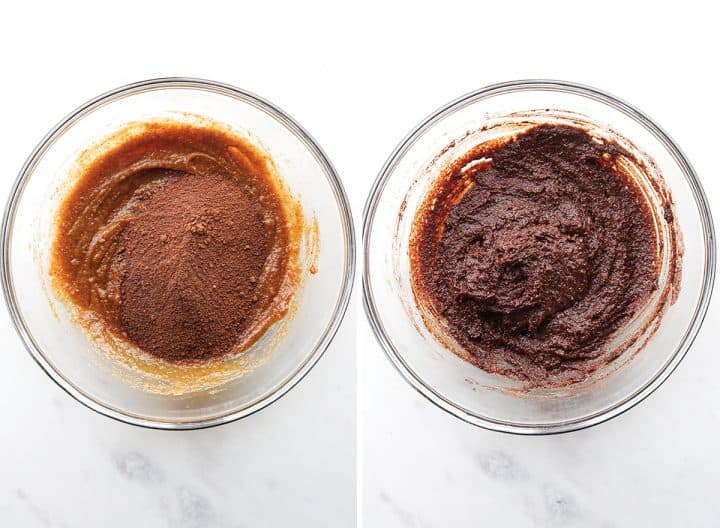 two photos showing how to make Fudgy Paleo Brownies combining wet & dry ingredients