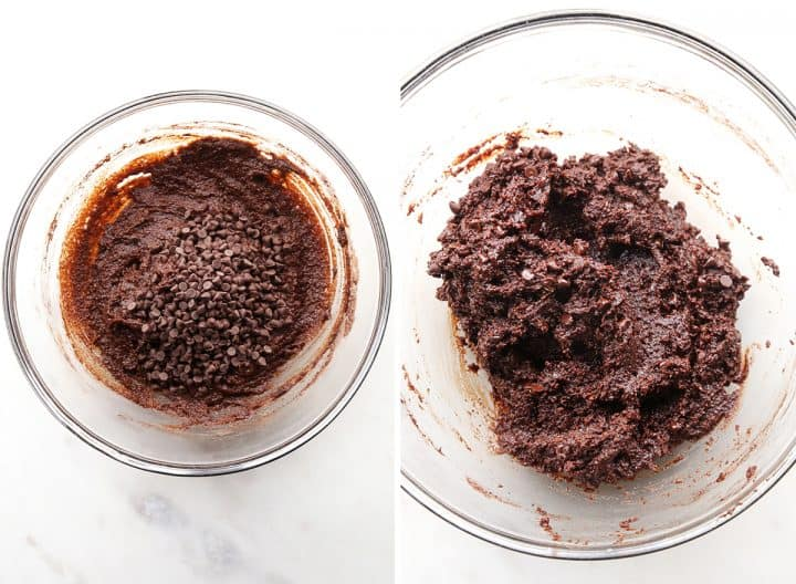 two photos showing how to make Fudgy Paleo Brownies adding chocolate chips
