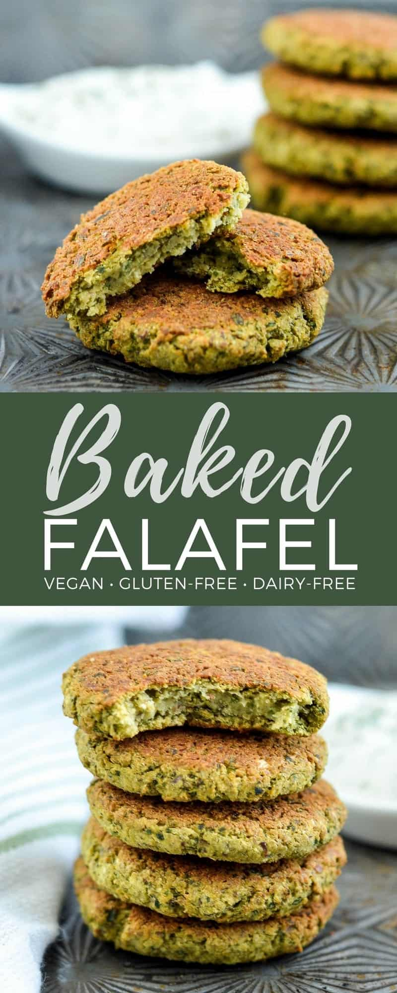 Healthy Gluten-free Vegan Baked Falafel! The perfect quick & easy meatless dinner recipe! They're gluten-free, dairy-free, vegan & freezer-friendly! #falafel #baked #healthy #recipe #vegan #glutenfree #dairyfree #freezerfriendly #meatless #maindish