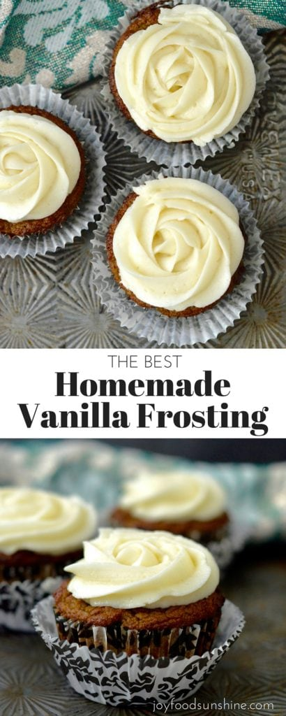 The BEST homemade vanilla frosting recipe! It only takes 5 minutes to make the best frosting at home! It's so easy you can ditch the store-bought varieties! Perfect for decorating and eating!