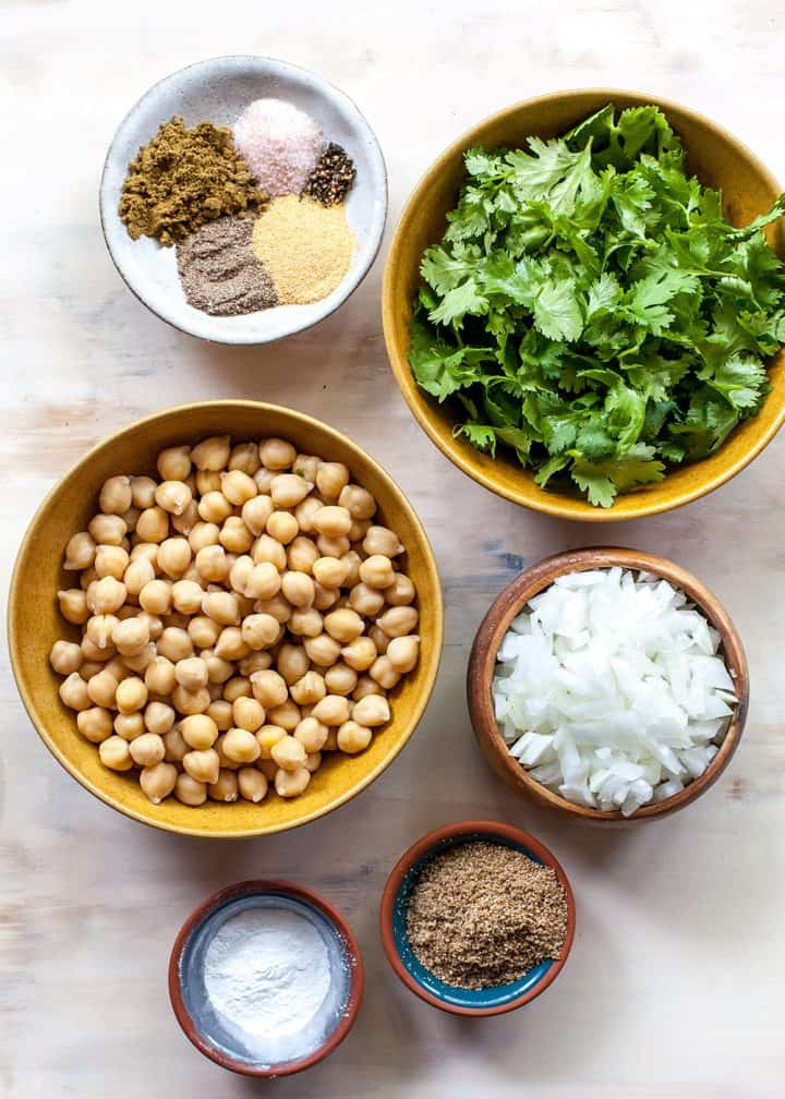 Overhead photo of the ingredients in this baked falafel recipe