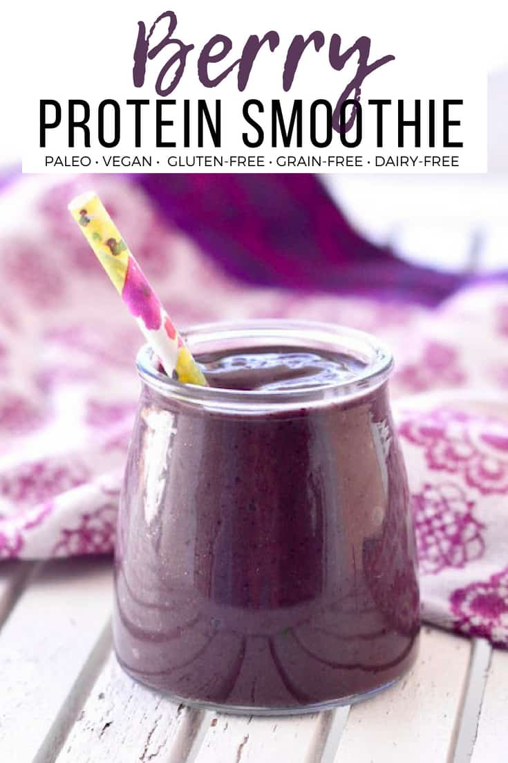 This Berry Protein Smoothie is made with 6 ingredients in 5 minutes and results in a delicious & filling smoothie! It's perfect for an easy breakfast or lunch! Paleo, Vegan, gluten-free, dairy-free and no added sweeteners!  #smoothie #berries #greensmoothie #protein #vegan