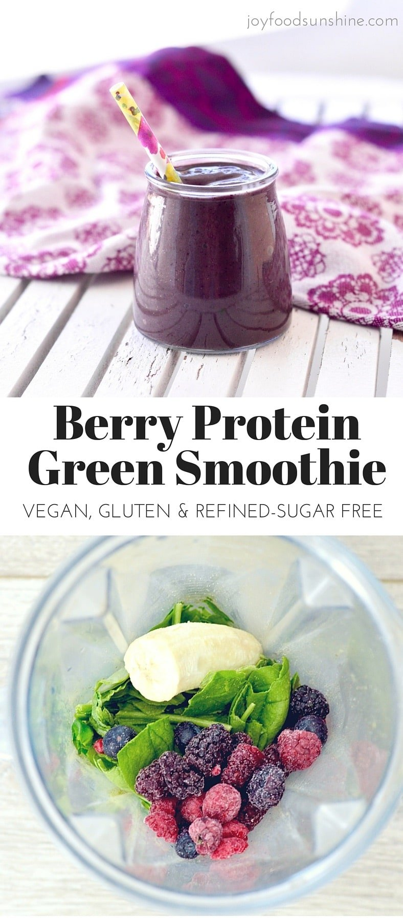 Berry Protein Smoothie! 6 ingredients and 5 minutes results in a tasty smoothie! Perfect for an easy breakfast or lunch! Paleo, Vegan, gluten-free, dairy-free and no added sweeteners!