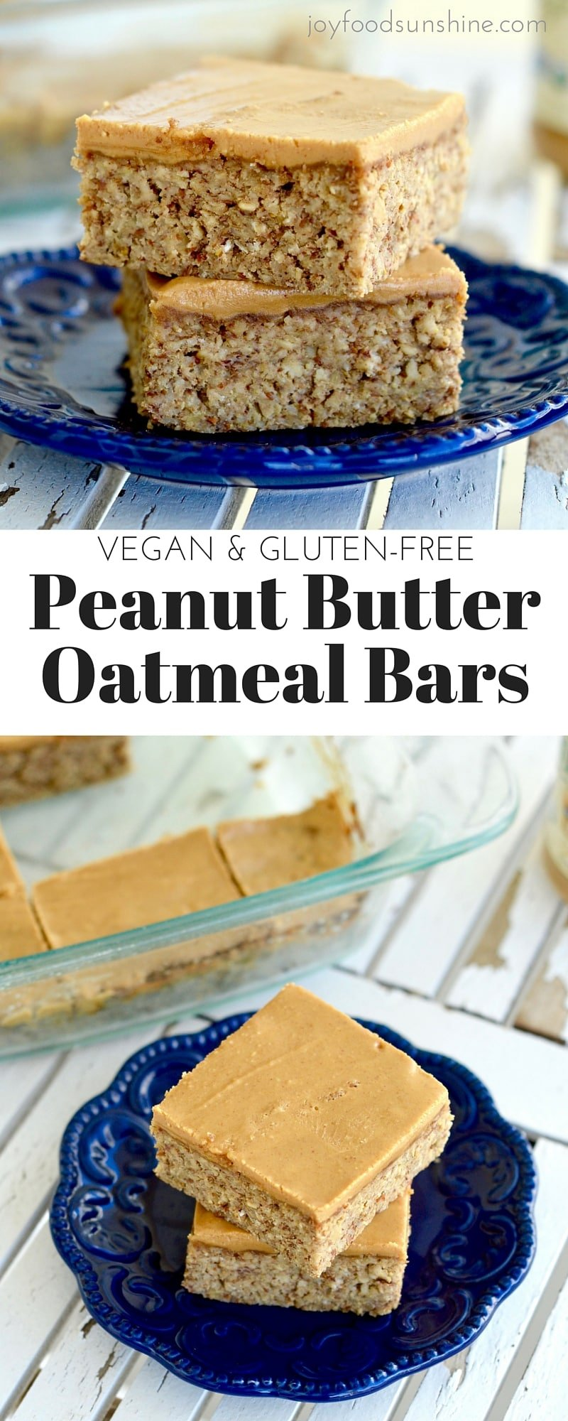 Peanut butter oatmeal breakfast bars. A filling breakfast rich in protein, fiber, and omega 3's ! They are gluten-free, dairy-free & vegan friendly!