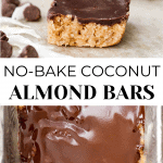 Coconut Almond Bars finished image with chocolate chips on top. On the bottom is an overview picture of the bars with chocolate glaze.