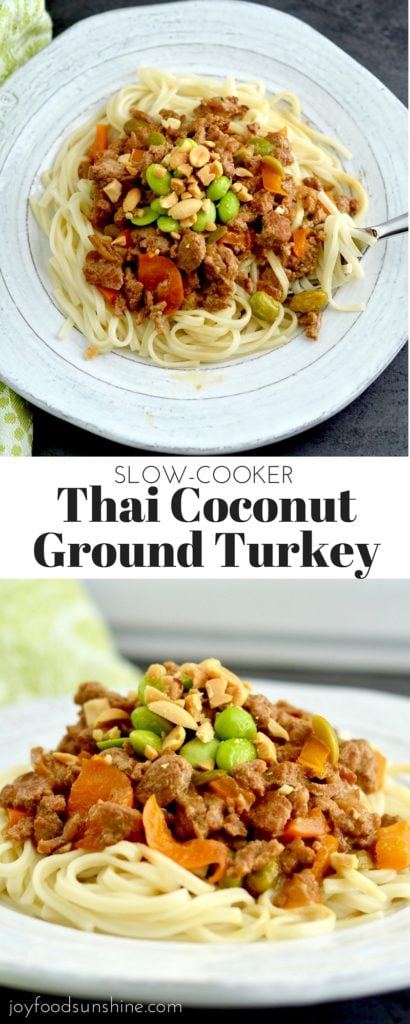 Slow-Cooker Thai Coconut Ground Turkey Recipe! An easy, healthy & flavorful dish make in the slow-cooker! It's gluten & dairy-free!