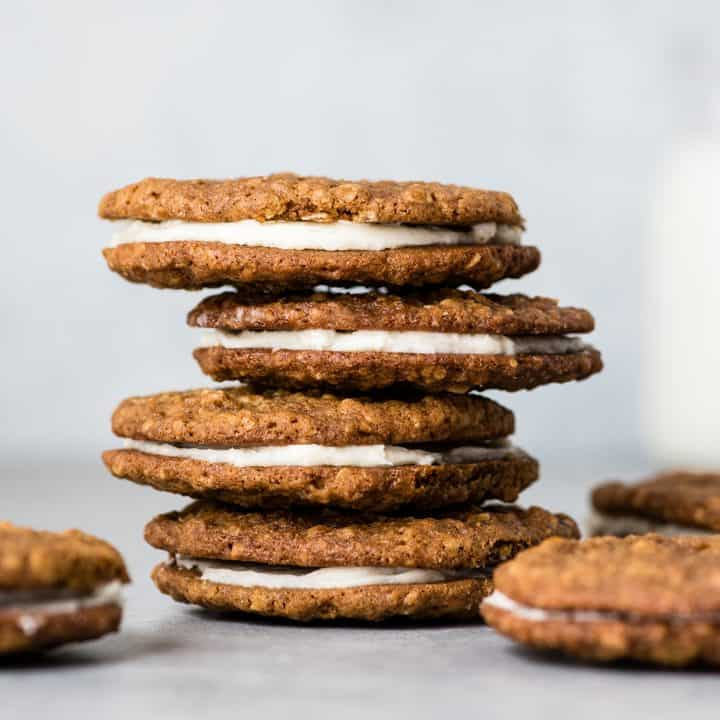 front view of a stack of four oatmeal cream pies