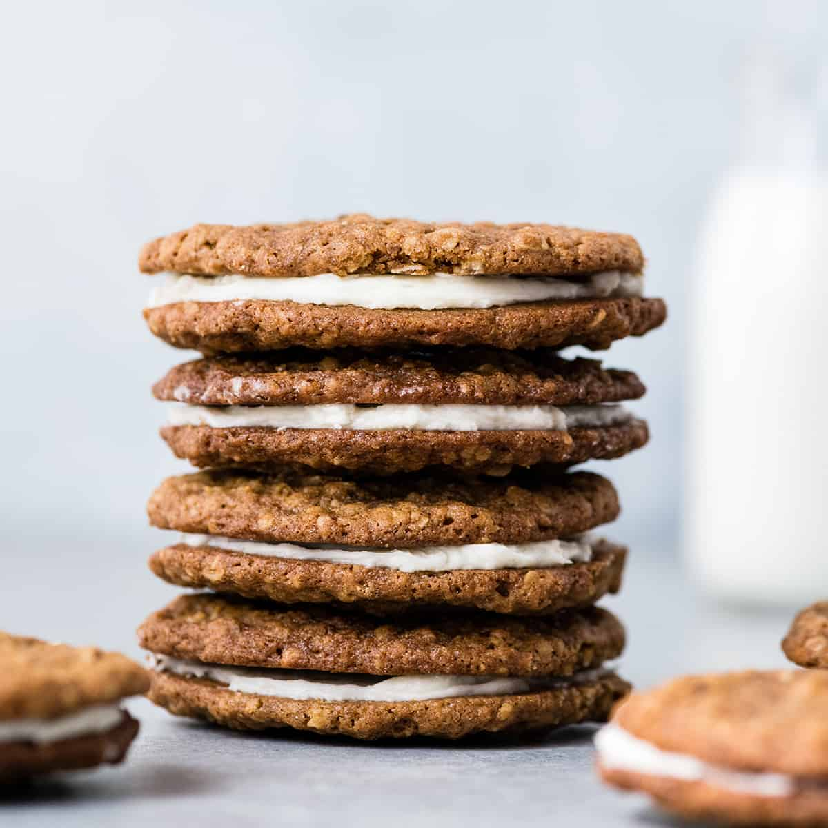 front view of a stack of four homemade oatmeal cream pies