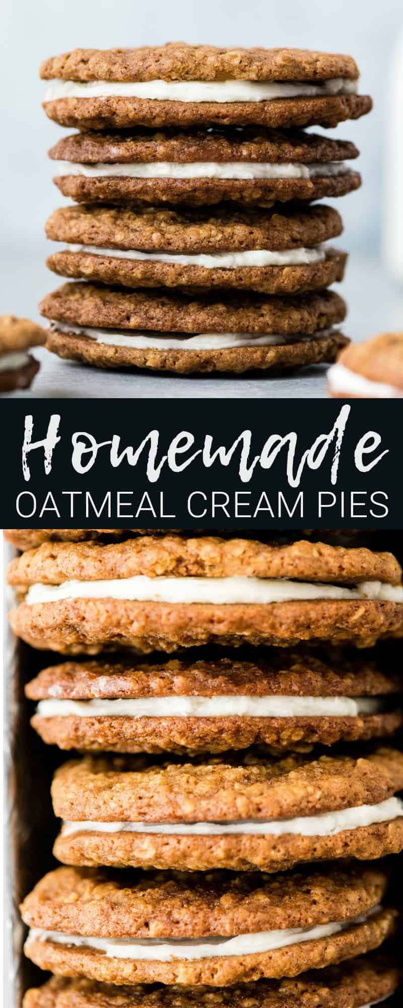 These Homemade Oatmeal Cream Pies are so much better than their store-bought counterparts and are made completely from scratch! Plus, they can be made ahead and are freezer-friendly! An absolutely delicious dessert to feed a crowd! #homemade #oatmealcreampies #oatmealcookies #cookies #dessert #freezerfriendly