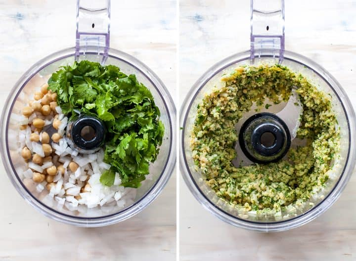 two overhead photos showing how to make falafel