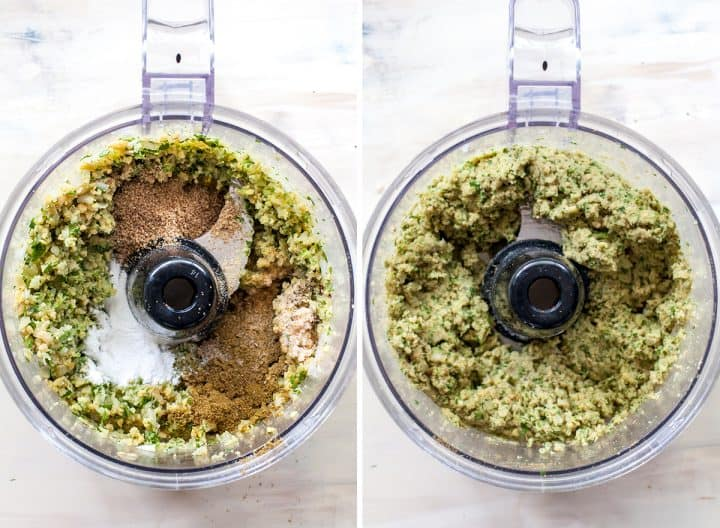 two overhead photos showing how to make baked falafel